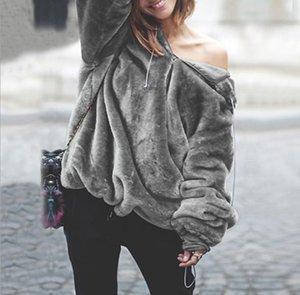 Женская Плюшевая Негабаритный зима толстовка с капюшоном шея Держите Теплые Zipper Толстовки Женщины Твердых Вершины Цвет Сыпучей