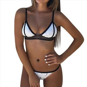 Красивые Женщины бикини кружева сексуальный черный Mesh Swimwear женщин Китай Стиль бикини печати Set Очаровательная Womens купальный костюм Biquini