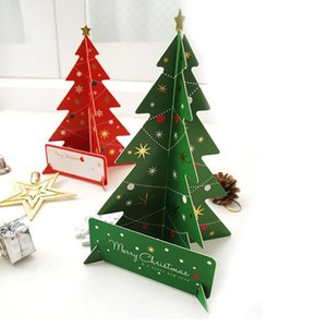 3d Merry Christmas Tree Greeting Cards Postcards Birthday Gift Message Card Suit Set Thanksgiving Card ZA5143