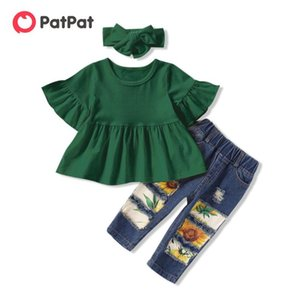 PatPat 2020 New Summer and Spring 3-piece Solid Flounced Dress and Sunflower Print Jeans Sets