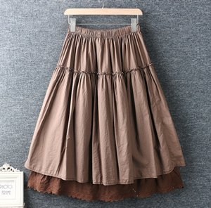 Spring and summer new literary elastic waist cotton and linen solid color bottoming long skirt loose skirt female 847