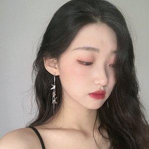Korean-style Elegant Long Vintage Metal Butterfly Tassel Earrings Ear Clip Female High-Grade Face Slimming Earrings Ear Jewelry