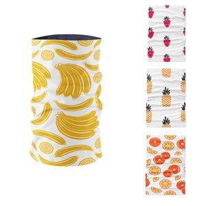 Las mujeres impresas en 3D divertido de la historieta del anillo de la bufanda de la fruta linda sandía Plátano Naranja Rosa de DIY que hace Inicio Deportes Unisex Pañuelo de Cycing