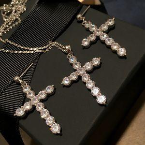 Collana Croce Vintage orecchini set della traversa della nappa orecchini di diamanti Designer Studs i pendenti delle donne dei monili di lusso