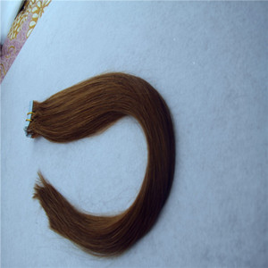 Dunkelbraun Farbe Glattes Haar Extensions Skin Weft Hand gebunden Band in Remy Menschenhaar-Verlängerungen 10-36 Inchs 20pcs / 40pcs / 100g