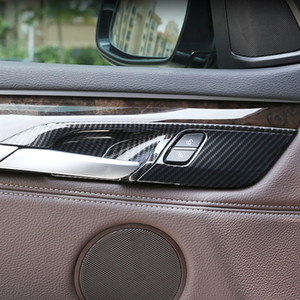 Carbon Fiber Color Car Inner Door Handle Bowl Frame Decoration Cover Trim For BMW X5 F15 X6 F16 2014-2018 Interior Decals