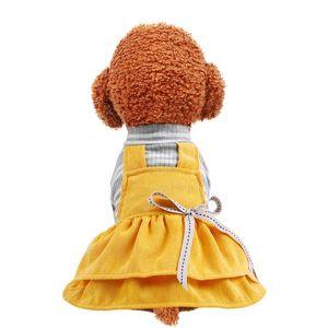 Nuevo patrón mascotas Perros del gatito ropa de primavera y verano de la falda del perro de la cinta pana arco amarillo caniche Bixiong vestido 19cw D2