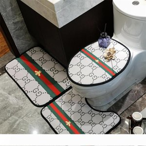 Latest Bee Stripe Printed Room Mats INS Style Designer Toilet Seat Cover Classic Non-slip Pattern Bathroom Accessories