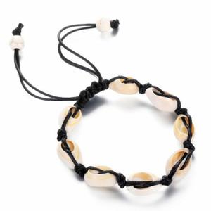 Tobilleras de cuerda negra de la vendimia para las mujeres Shell Foot Jewelry Playa de verano Pulsera descalza Tobillo en el tobillo de la pierna Bohemian Shell Anklet