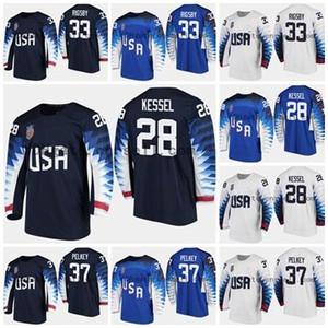 Özel ABD Takımı 2018 Pyeongchang Olimpiyatları Erkekler Kadınlar Gençlik 33 Alex Rigsby 28 Amanda Kessel 37 Pelkey Hokeyi Formalar Siyah Beyaz Mavi
