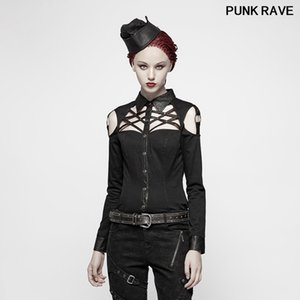 Punk Cross Design Streetwear Shirt fashion Handsome Military Black Long-sleeved Twill Hollow-out Women blouse PUNK RAVE Y-979