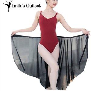 Ballet gasa de las mujeres adultos abrigo sobre Bufanda con el lazo de la cintura Leotardo patín danza del tutú de la falda larga Sheer White Negro