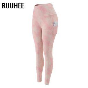 RUUHEE Sport Wear Batik Tayt Kadınlar Spor ile Pocket Yoga Pantolon Stretch Egzersiz Tozluklar Patchwork İnce Gym