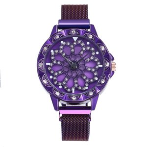 Explosive styles and creative times come to rotate hollow diamond-studded ladies magnet buckle Milan band quartz wrist watch holiday gift