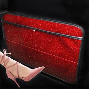 FashionBling del anti del niño Kick Pad para los asientos del coche Kick Rhinestone del diamante de la corona del cojín anti del niño bFWo #
