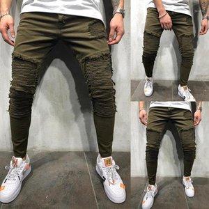 Diseñador Fruncido jeans de moda verde del ejército rasgado los pantalones del lápiz 20ss Nueva informal Homme pantalones largos de los hombres