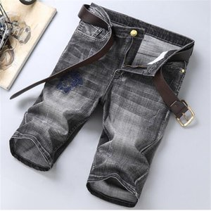 2020SS Summer high quality new men's motorcycle jeans Capris men's tight fitting pencil shorts casual hip-hop