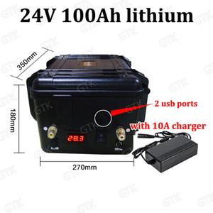 GTK impermeável 24V 100AH lítio 100A BMS 200AH li-ião para 1500W 2000W RV EV scooter de armazenamento de energia solar Carregador + 10A