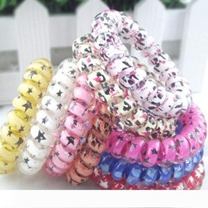 Random Color Leopard Star Dot Hair Rings Telephone Wire Elastics Bobbles Hair Tie Bands Kids Adult Hair Accessories Can use as Bracelets
