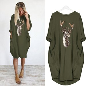 Spring Women Print Pockets Dress Hoodie Loose Midi Dresses Solid Color Crew Neck Oversized Loose Tunic Female