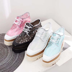 New Womens Fashion Platform Shoes Flat Casual Lady Walking Casual Sneakers Luminous Fluorescent White Shoes Leather chunky sneakers pa4