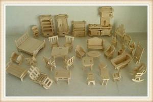 Wholesale DIY 1:16 Mini Furniture Kids Educational Dollhouse Furniture Set,3D Woodcraft Puzzle Model,Brinquedos kZ98#