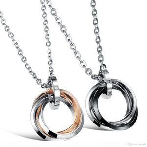 Couple Circles With Love Letters Necklace Stainless Steel Stone Pendants Lover Jewel Black Silver Rose Gold Color Valentine's Gift GX55