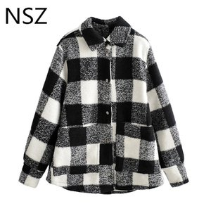 NSZ women white and black oversized plaid coat blouse checked woolen jacket wool blend outwear thick warm streetwear Fall Winter T200720