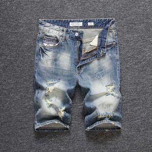 Мужские джинсы модные уличные мужские шорты ретро синий винтаж сорванный джинсовый летом LY дизайнер хип-хоп короткий Homme