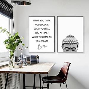 Imprimir Buddha Estátua Boho Wall Art E Poster Black White Yoga presente da arte pintura da lona Buddha Recados Imagem for Living Room Decor