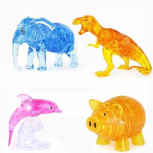 Dinosaur DIY Cristal Elephant Dolphin Treasure Chest Pig 3D Puzzle montado Jigsaw Para Kid Intelectual Presente Toy Puzzles