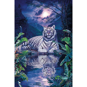 Tiger Moon Lake Full Drill 5D Diamond Round Rhinestone Embroidery Painting DIY Cross Stitch Kit Mosaic Draw Home Decor Gift