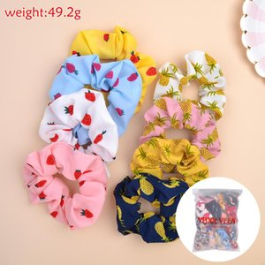 8 12pcs Set Women Elegant Printed Chiffon Scrunchie For Girls Elastic Hair Bands Sweet Ponytail Holder Headwear Hair Accessories