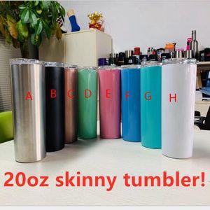 Toptan ve Tanıtım Çift Duvar Vakum İzoleli 20 oz 30 oz Skinny Paslanmaz Çelik Tumbler ile BPA Free Kapak
