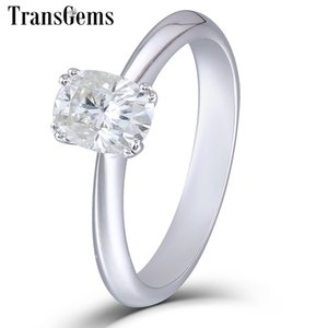 TransGems Solid 14K 585 White Gold 1 ct CT 5X7mm F Color Cuhsion Cut Moissanite Engagement Ring for Women Wedding Gift Y200620