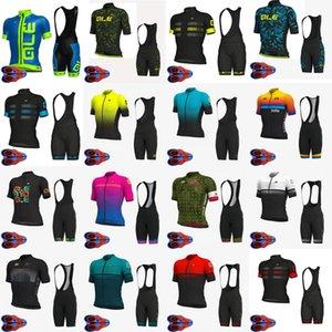 짧은 소매 저지 9D 패드 턱받이 반바지 세트 MTB 자전거 야외 스포츠웨어 로파 Ciclismo S072913 사이클링 의류 ALE 팀을 순환 남성