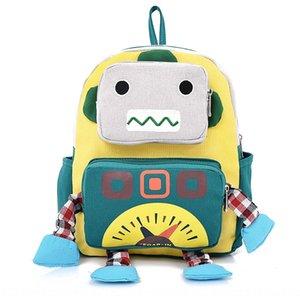 toile de dessin animé Cartoon enfants New petit sac jardin d'enfants nouveau robot mignon toile Petit sac à dos à dos sac