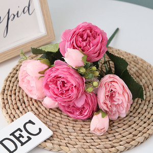 HOT!30cm Rose Pink Silk Peony Artificial Flowers Bouquet 5 Big Head and 4 Bud Cheap Fake Flowers for Home Wedding Decoration indoor