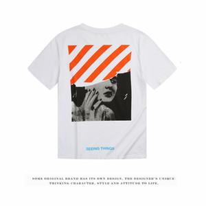 패션 브랜드 OFF 마릴린 먼로 흰색 짧은 소매면 라운드 칼라 느슨한 커플 여름 옷 학생 T-shirt92EV