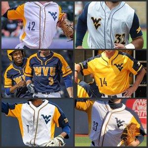 West Virginia Mountaineers Baseball genähten Jersey mens Frauen Jugend Darius Hill Tyler Doanes Ivan Gonzalez Marques Inman Kinder WVU Trikots