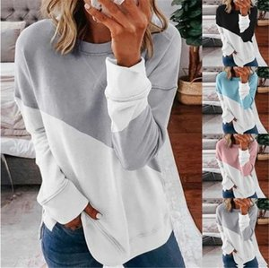 Women Panelled Loose T-shirts Fashion Trend Contrast Color Casual Round Neck Tops Tee Designer Spring Female Long Sleeve Sweatshirt