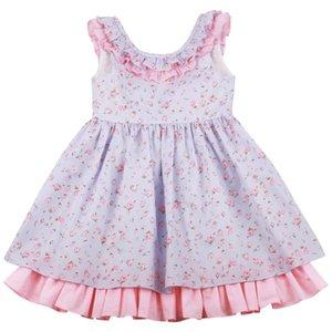 파티 캐주얼 야외 1-8Y에 대한 Flofallzique 꽃잎 칼라 여름 코튼 빈티지 꽃 귀여운 유아 소녀 드레스