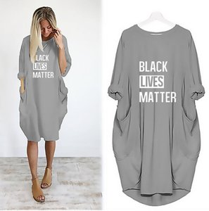 New Arrived Womens T Shirts Dresses Black Lives Matter Printted Fashion Summer Dress for Women Short Sleeve Long Tee Dress S-5XL Optional