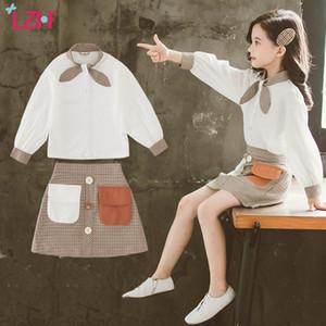 Conjuntos LZH 2020 otoño Manera adolescente de la falda de las muchachas del juego de arco de la manga larga superior escote + Doble bolsillo del enrejado de la falda 2pcs Ropa Niños