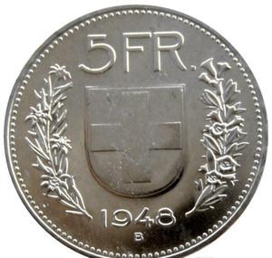 UNC 1948 Suíça (Confederação) Silver 5 francos (5 Franken) latão niquelado diâmetro Copiar Coin: 31,45 milímetros jjxh NWHCg