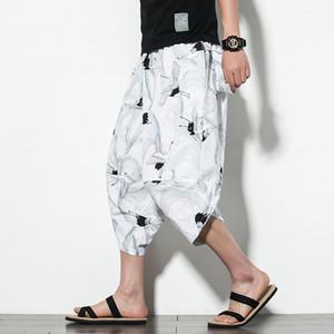 2020 Мужчины Хлопок белье Багги Широких ног брюки Мужчины Печатной промежность Hip Hop шаровары кальсон Мужских теленок Длины Cross брюки