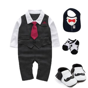 kids baby boys clothes wedding birthday Tuxedo cotton false two bodysuit baby Christening suit outfits photo props