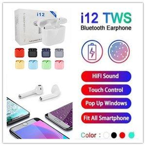 شعبي I12 توس بلوتوث 5.0 سماعات بلوتوث لاسلكية تدعم سماعات التحكم باللمس الملونة سماعات الأذن سماعات رأس لاسلكية