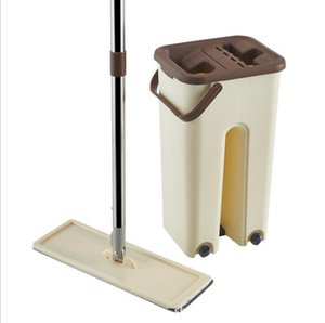 Hand-free Washing Flat Mop with Bucket Squeeze Self Wet and Dry Cleaning Microfiber Mop Household Kitchen Cleaning Tool with Bucket DHB484