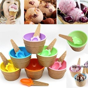 Reusable Ice Cream Bowl with a Spoon Colorful Plastic Ice Cream Bowl lovely kids Ice Cream Dessert Bowls Couple Children Tableware